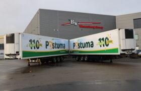 Wezenberg Trailers levert 2 Krone polyester koelopleggers aan 110- jarig Postuma AGF in IJsselmuiden